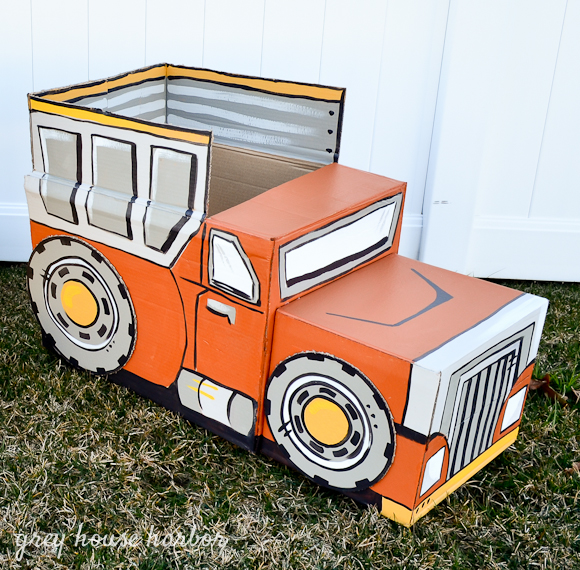 how to make a cardboard box dump truck | Grey House Harbor