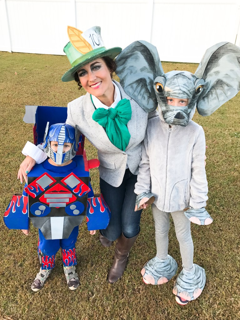 Cardboard Creature Costumes : Transformer, Mad Hatter, & Elephant | greyhouseharbor.com