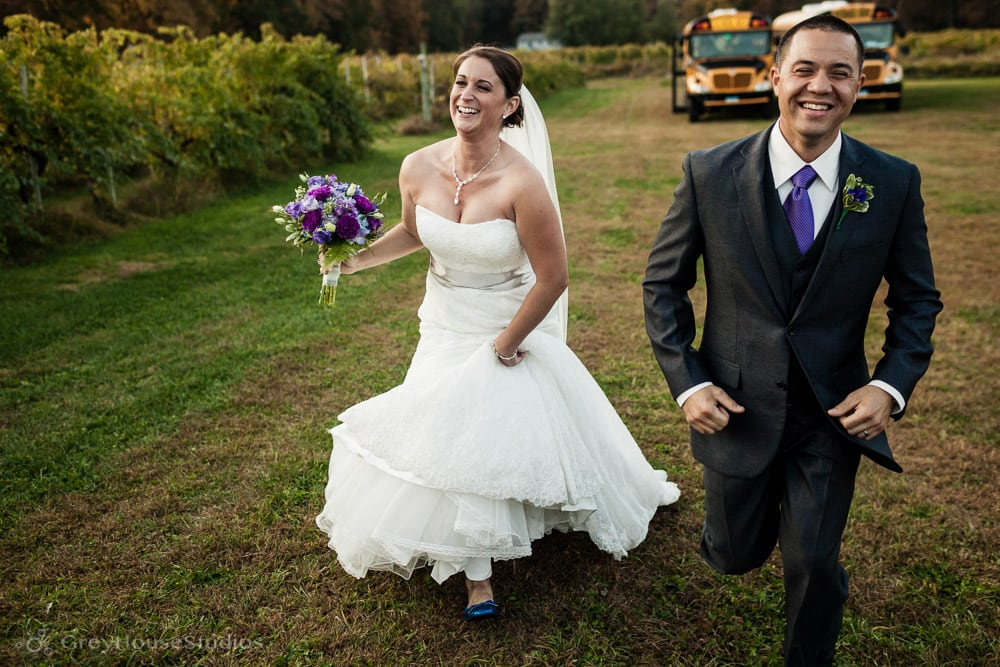 priam vineyards wedding photos bride groom running to ceremony