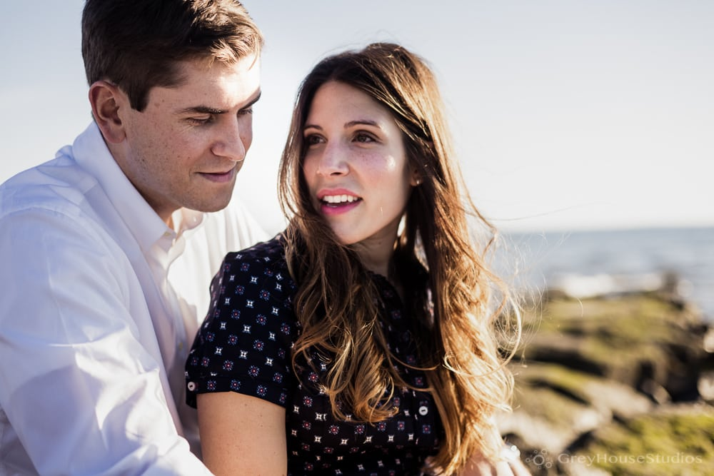 Alicia + Ken's Beach Engagement photos at Sasco Point in Fairfield, CT by GreyHouseStudios