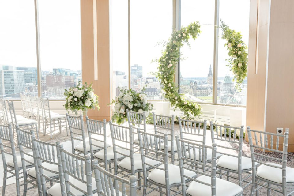 Floral Wedding Circle Hoop - Overlooking City - Downtown View - Best View of Downtown- Wedding Floral Decorations - Grey Loft Studio - Venue 22 - Ottawa Wedding Photographer - Wedding Videographer Ottawa - Photo Studio Ottawa wedding with a view - venue 22 - View of Parliament Hill Downtown