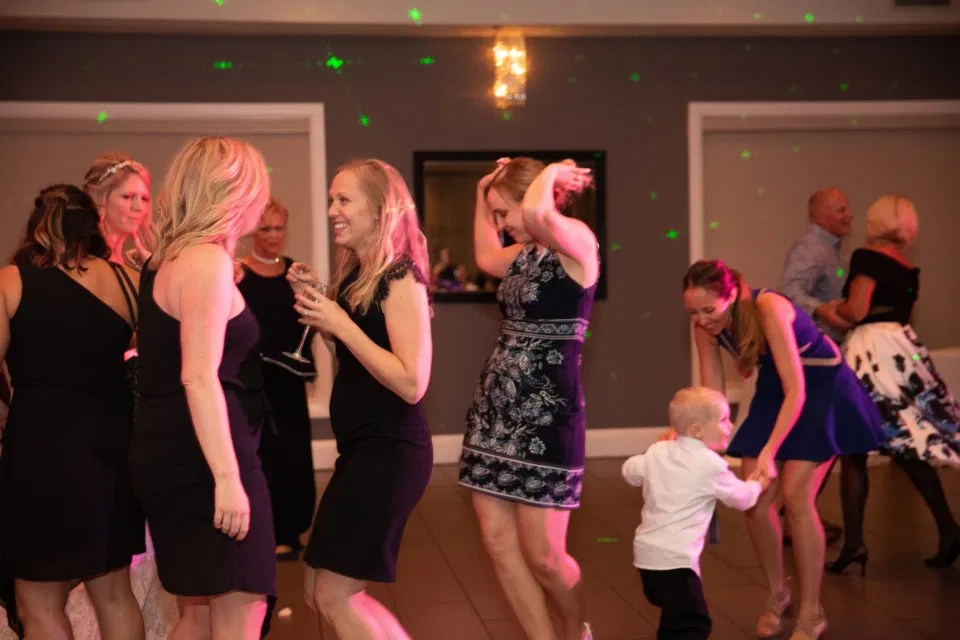 Party. Shots - Reception Photos at NeXt in Stittsville - Bride and Groom Natural Posing - Having Fun with Bridesmaids - Black Bridesmaids Dresses for Curves - Holy Spirit Catholic Church Stittsville - Bride with Bridesmaids - Black and White Theme Wedding - Romantic Wedding at NeXt in Stittsville - Grey Loft Studio - Ottawa Wedding Photographer - Ottawa Wedding Photo & Video Team