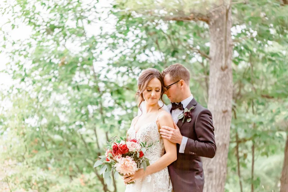 Couple just Married - Posing at Le Belvedere - Early Fall Wedding - Photographer Bethany Barrette - Styling Details on Wedding Day - Grey Loft Studio -Amy &. Nick | Le Belvedere at Wakefield in Quebec - Ottawa Wedding Venue - Grey Loft Studio