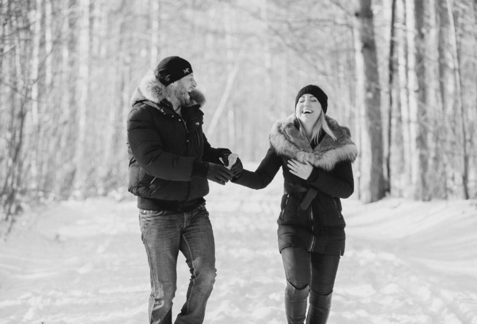 pine grove trail Winter Engagement Session grey loft studio ottawa wedding photographer videographer engagement kanata orleans nepean beautiful locations for engagement photos in ottawa black coats and tan coloured accents with jeans