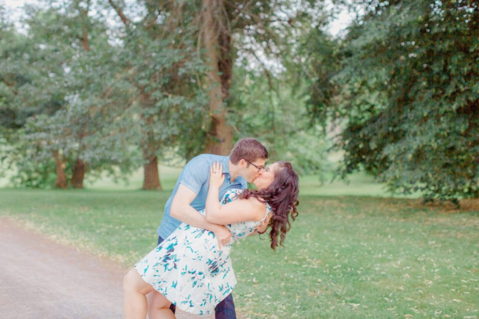 well dress cute outfit couple dipping during and engagement session