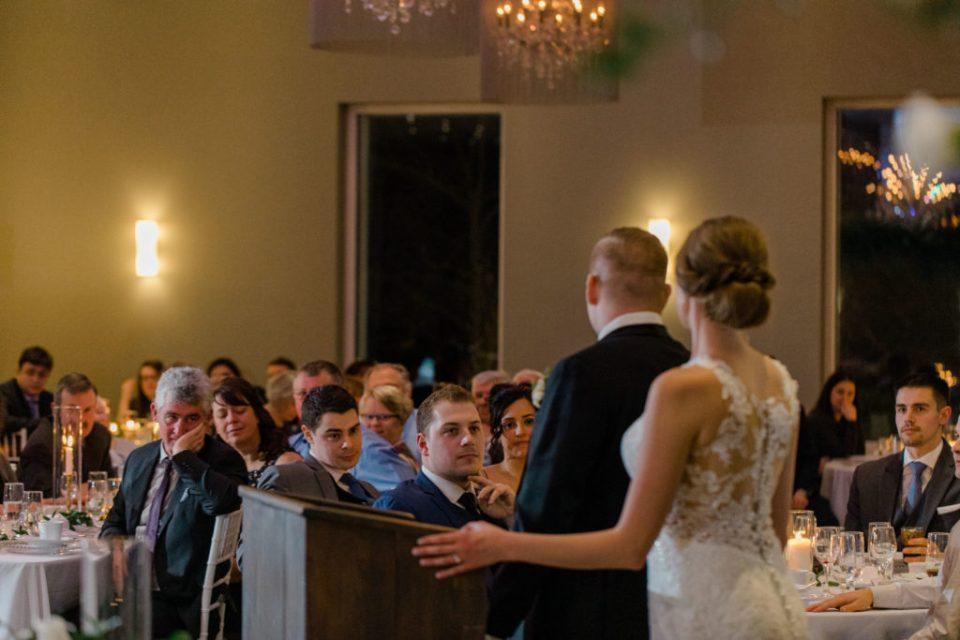 Final Speech - Thank you Speech at Wedding -  Walking down the Isle - Husband and Wife - Cliffside Wedding - Le Belvedere - Winter Outdoor Wedding - Ottawa Wedding Photographer - Grey Loft Studio - sunset photos - Bridal Photos