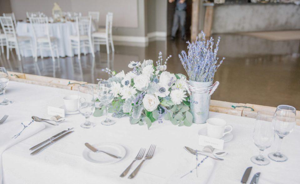 Head Table Decor - Florals - Lavender Rain Inspired Wedding - Le Belvedere- Grey Loft Studio- Ottawa Wedding Photographer - Affordable - Cheap - Fine Art - Best - Kanata Photographer - Wedding Videographer Ottawa - Light and Airy - Beautiful - Timeless - Organic Photographer Carp - Stittsville