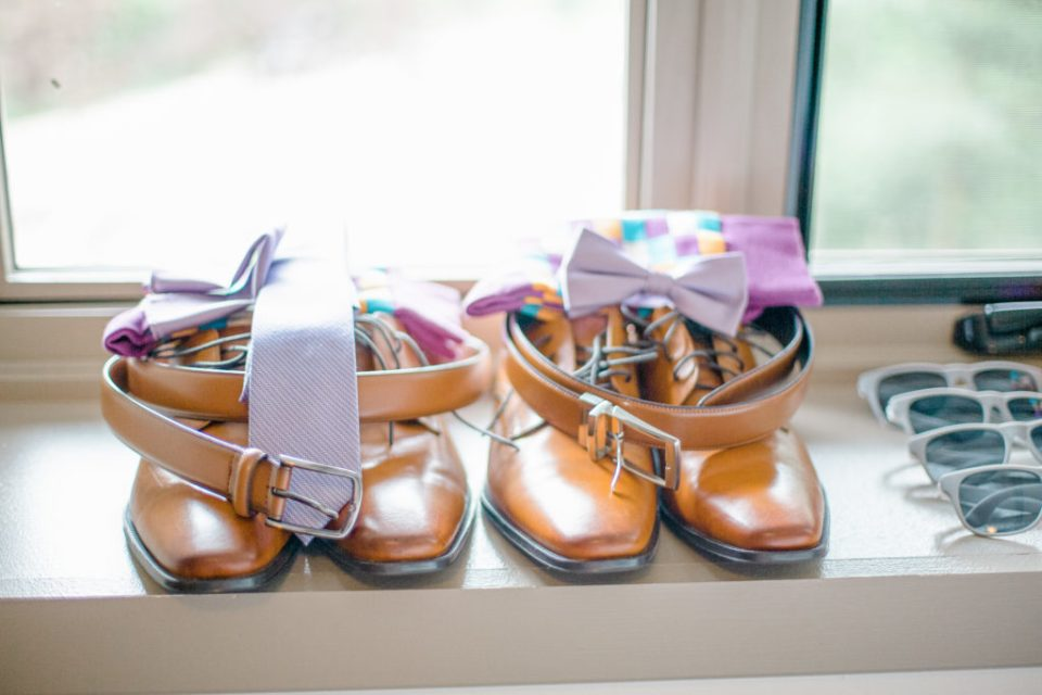Groomsmen Shoes and Details Lined up for Detail Photos for the Bride and Groom to tell the story after.
