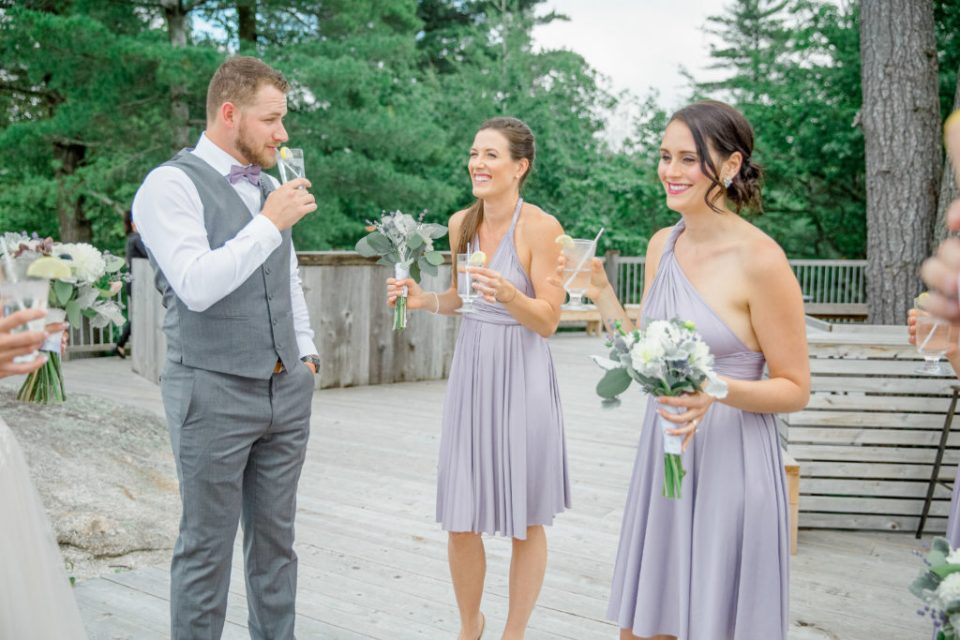 Bridal Party having a Drink - Lavender Rain Inspired Wedding - Le Belvedere- Grey Loft Studio- Ottawa Wedding Photographer - Affordable - Cheap - Fine Art - Best - Kanata Photographer - Wedding Videographer Ottawa - Light and Airy - Beautiful - Timeless - Organic Photographer Carp - Stittsville
