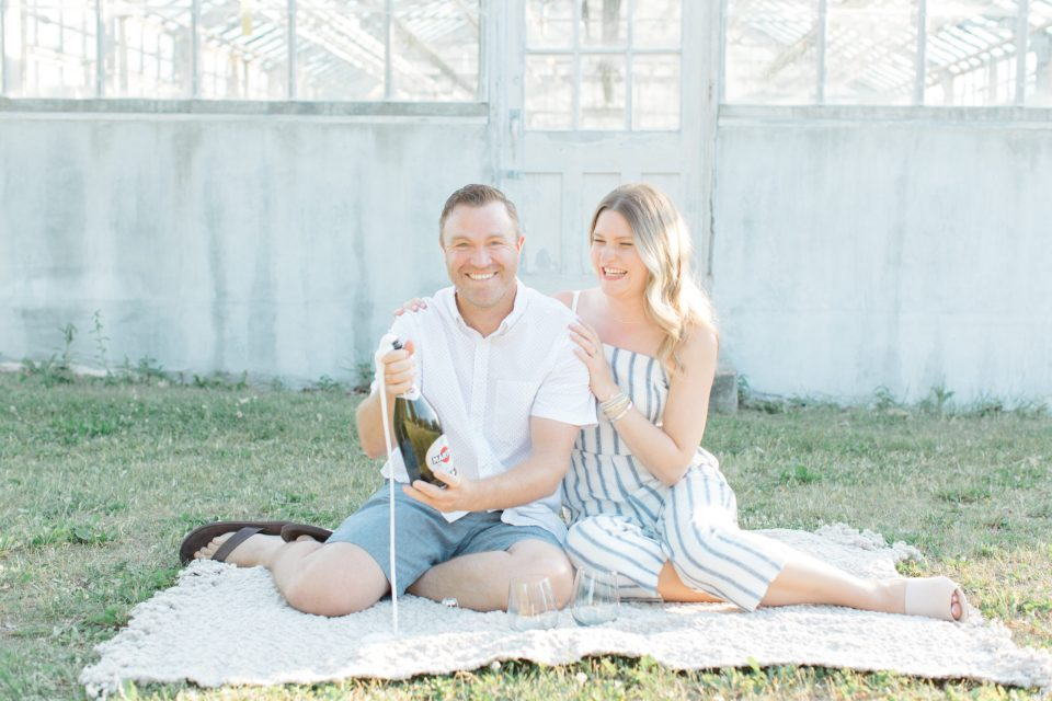 Champagne Photo Inspiration -Neutral Blue/White/Grey Engagement Session Outfit Inspiration - Cute Puppy with Button up Shirt - Grey Loft Studio - Ottawa Engagement Session - Tropical Gardens - -Wedding Photographer Ottawa - Wedding Photo Ottawa - Ottawa Wedding Videographer - Ottawa Wedding Photography & Videography - Ottawa Photo Studio