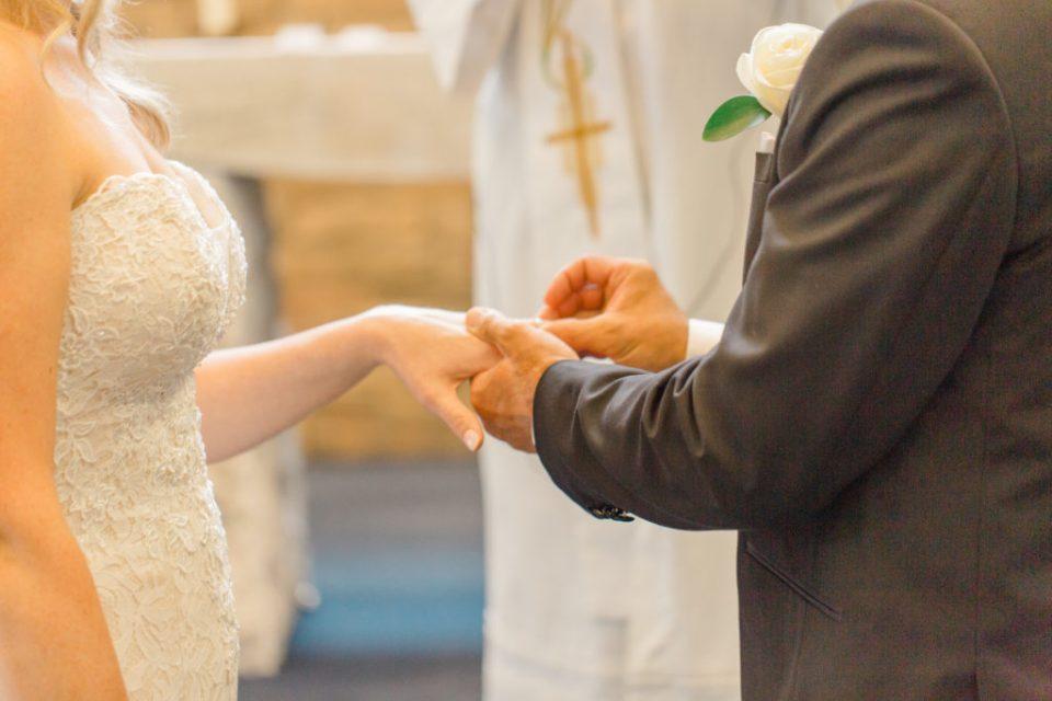 Putting the Ring on - Wedding Ceremony - Holy Spirit Catholic Church Stittsville - Bride with Bridesmaids - Black and White Theme Wedding - Romantic Wedding at NeXt in Stittsville - Grey Loft Studio - Ottawa Wedding Photographer - Ottawa Wedding Photo & Video Team