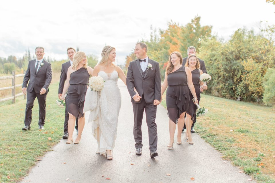 Wedding Party Pose Ideas - Having Fun with Bridesmaids - Black Bridesmaids Dresses for Curves - Holy Spirit Catholic Church Stittsville - Bride with Bridesmaids - Black and White Theme Wedding - Romantic Wedding at NeXt in Stittsville - Grey Loft Studio - Ottawa Wedding Photographer - Ottawa Wedding Photo & Video Team