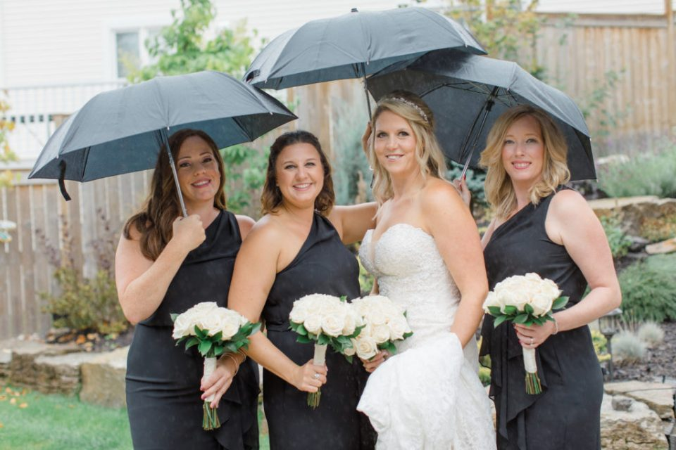 Bride with Bridesmaids - Black and White Theme Wedding - DIY Costco Bouquets - Rainy Wedding Day Bride getting Ready Photos - Romantic Wedding at NeXt in Stittsville - Grey Loft Studio - Ottawa Wedding Photographer - Ottawa Wedding Photo & Video Team