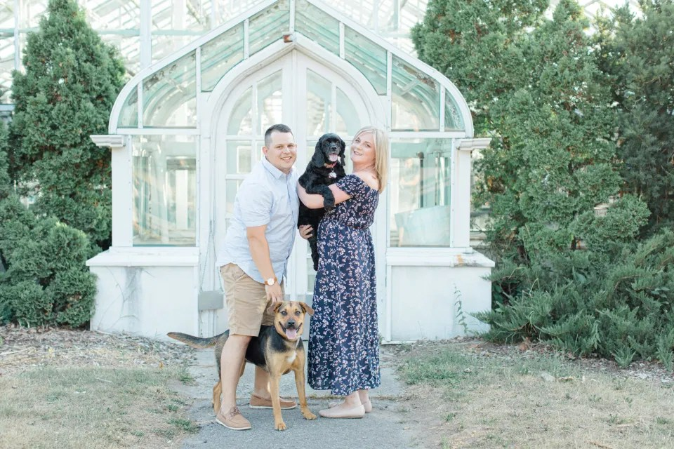 Cute Dog Poses with Couple - Summer Engagement Session inspiration - Neutrals, Blues, Flowy Dress - Floral Print Navy - Grey Loft Studio - Ottawa Wedding Photographer - Wedding Videographer - Fun, Natural, Bright Photo Video Team. - Photographe - Greyloft - Ottawa Engagement Pictures