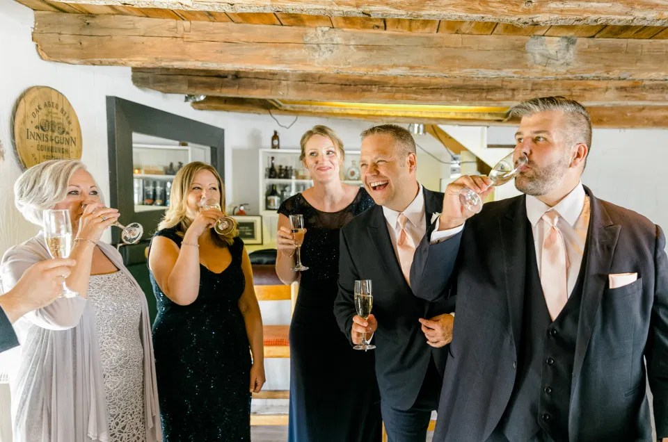 Champagne Toast with Groomsmen & Grooms-women before Ceremony on Wedding Day