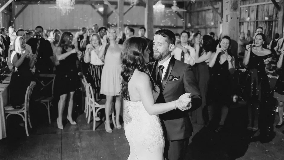 First Dance - Black and White -Evermore Wedding and Events, Almonte - Bright, Modern, and Fun Wedding Photography. Grey Loft Studio . Wedding Photographer Ottawa.