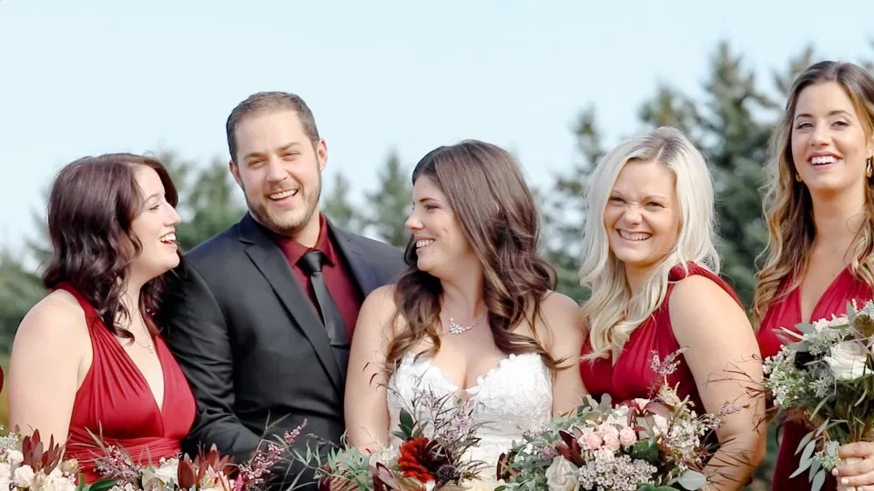 Time for Bridal Party Shots - Laughing all the Way - Evermore Wedding and Events - Blue Sky, Fall Wedding. Grey Loft Studio Photography & Videography Ottawa
