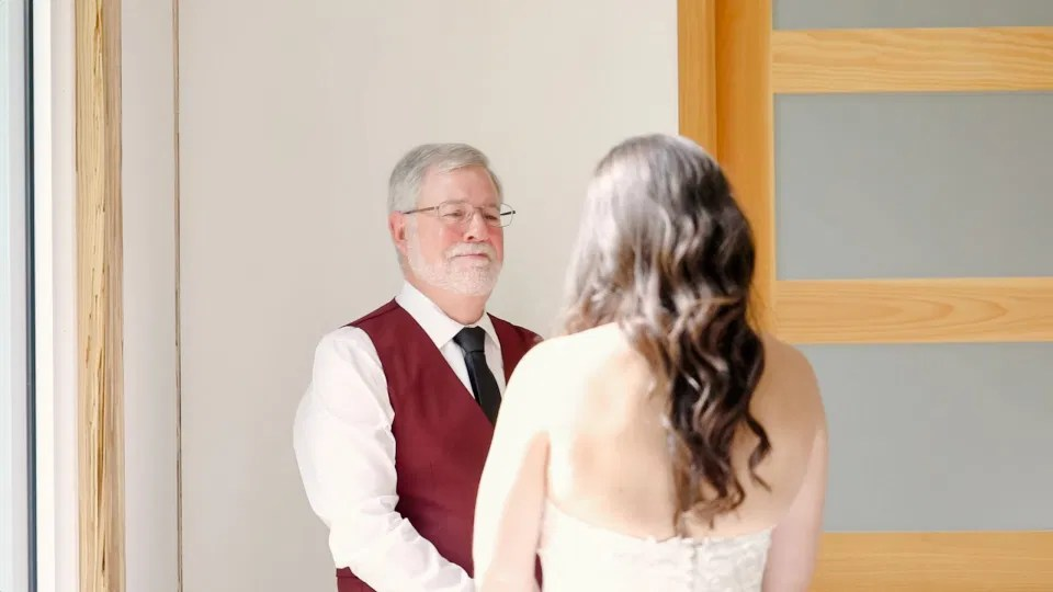 Bride Reveal with her Dad - Emotional  Reveal- Off-White, Silver, Greenery. Eucalyptus Leaves. An inspiration filled with soft neutrals, lush florals, and layers of romantic textures all set at Evermore Weddings and Events, Almonte Ontario.  Grey Loft Studio shot with Canon 5D Mark 4.