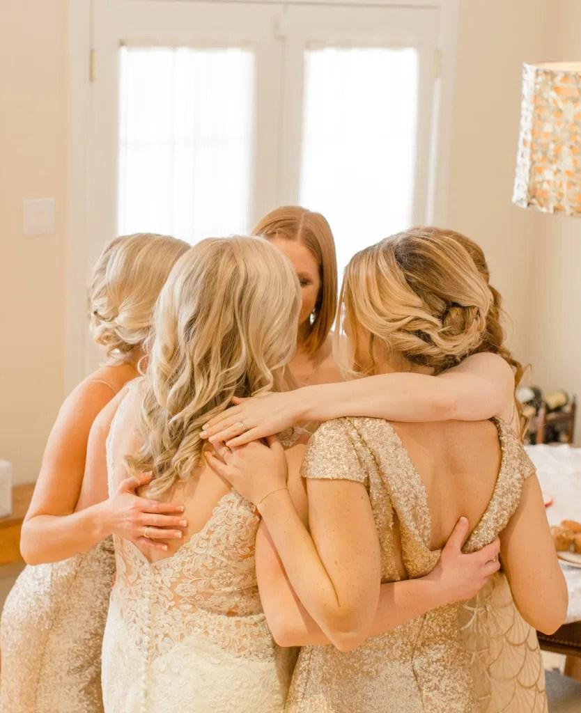 Bridal Party Cuddle - Bridesmaids and Bride - Pep Talk