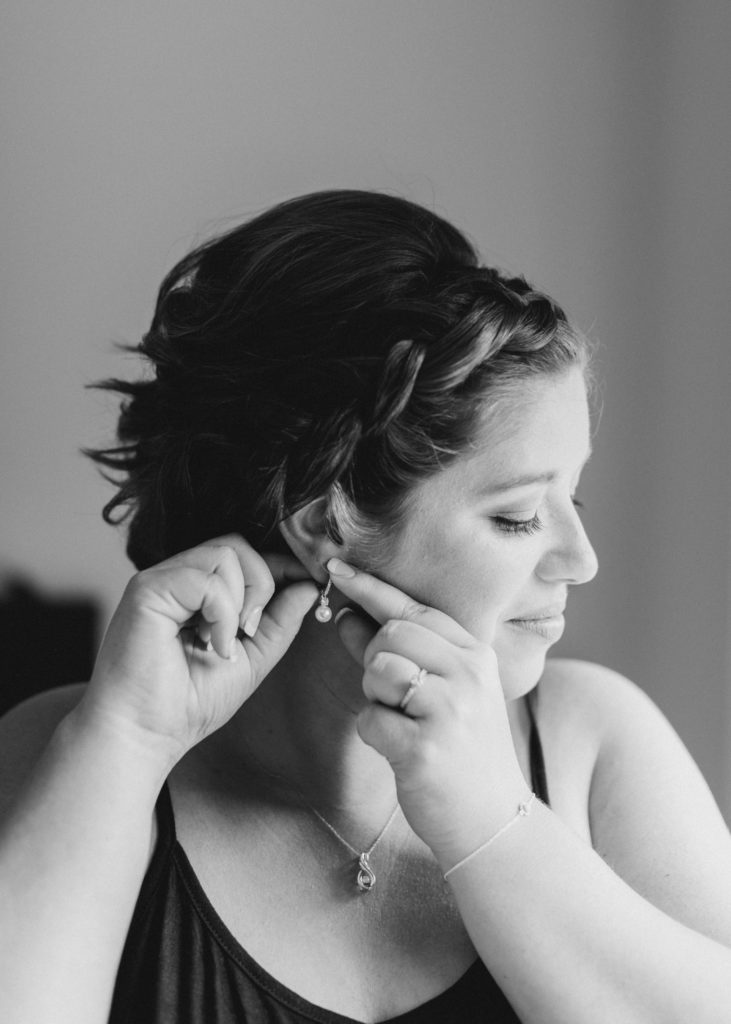 Bride Getting Ready -  BW - Detail Photos for Micro Wedding - Ideas for what to wear for Wedding Photography, Modern Wedding Inspiration. Romantic Micro Wedding Orchard view - Grey Loft Studio is Ottawa's Wedding and Engagement Photographer for Real couples, showcasing photos that are modern, bright, and fun. Petite Wedding, Elopement Wedding, COVID Wedding Inspiration 2020
