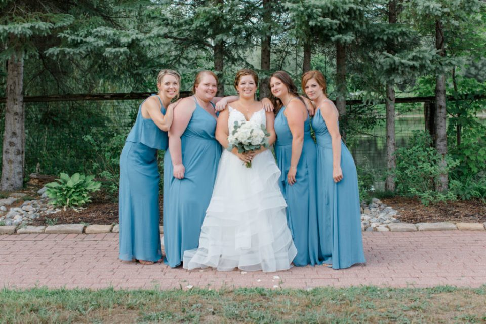 Bride with Bridesmaids - Detail Photos for Micro Wedding - Ideas for what to wear for Wedding Photography, Modern Wedding Inspiration. Romantic Micro Wedding Orchard view - Grey Loft Studio is Ottawa's Wedding and Engagement Photographer for Real couples, showcasing photos that are modern, bright, and fun. Petite Wedding, Elopement Wedding, COVID Wedding Inspiration 2020