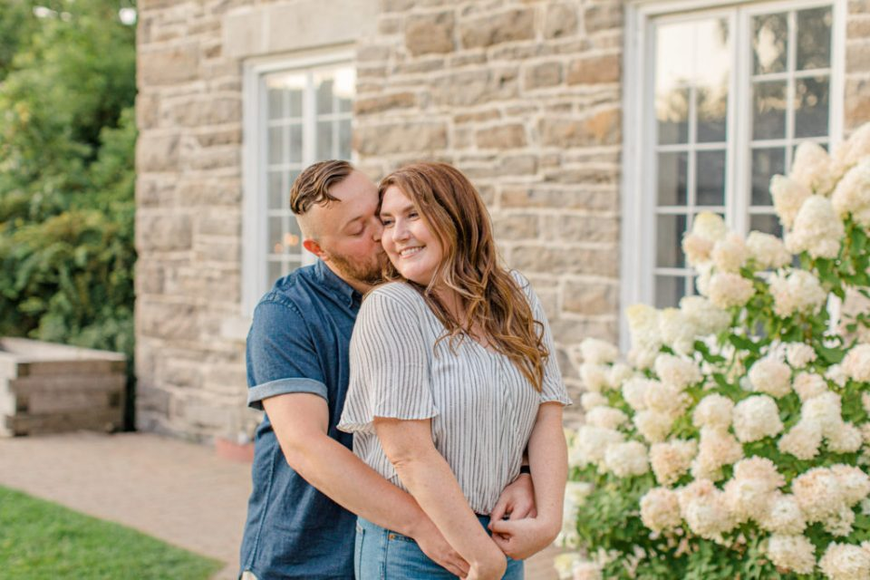 Watson's Mill Engagement Session Manotick - Bright & Airy photography - Grey Loft Studio - Ottawa Wedding Photographer - Ottawa Wedding Videographer - Engagement Session Locations in Ottawa - Summer Engagement session - Light blue and Cream with casual jeans and strap sandals. Ottawa Photo Studio.