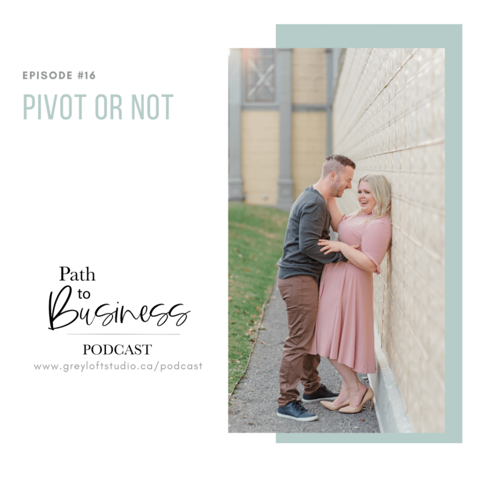 Pivot or not - Episode #16 - Path to Business Podcast - Bethany is joined by her husband Luc to chat all things pivot within the business. Grey Loft Studio - Ottawa Wedding Photographer & Videographer Team - couples poses - pink dress - posing styles - posing ideas