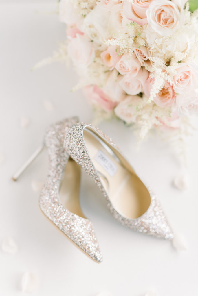 Jimmy Choos - White and Pink Florals - Wedding Details on wedding day.