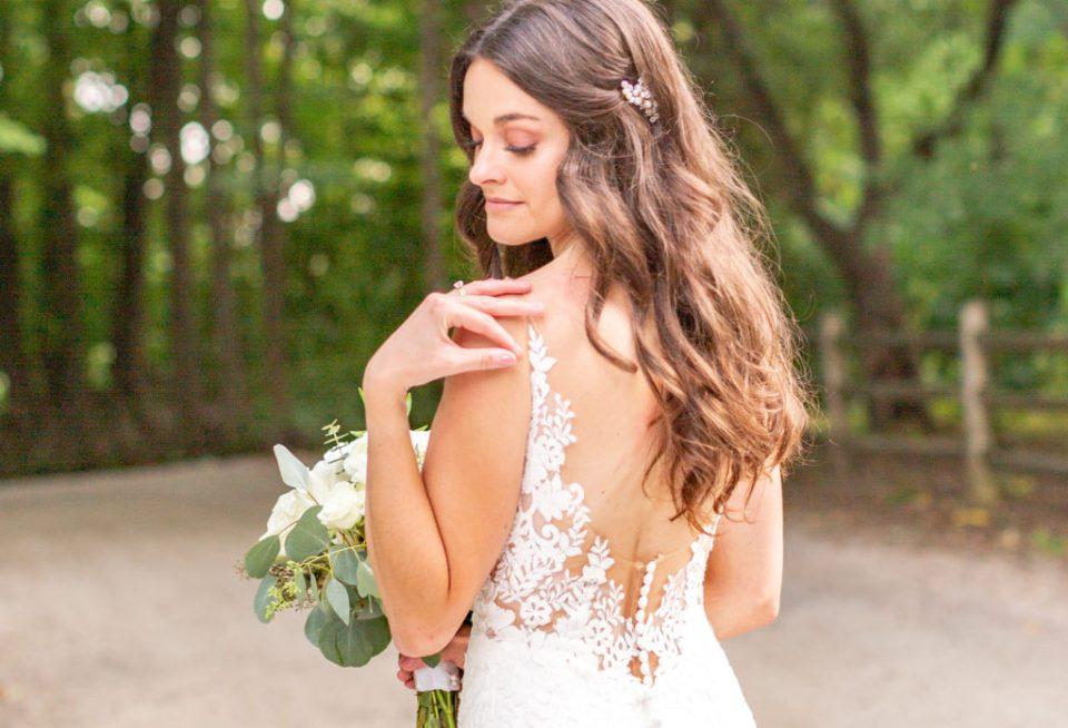 Bridal Portraits  - Back of the Dress - Wedding Day Inspiration - Beautiful Bride.  Grey Loft Studio Wedding Photographers in Ottawa, Ontario.