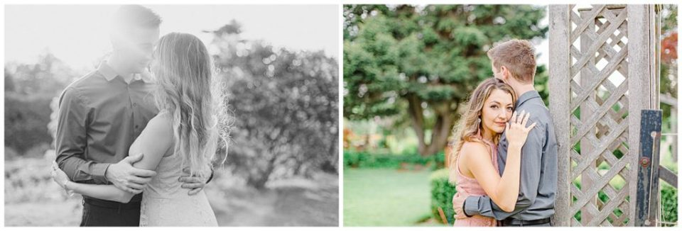 Pose Ideas for Photos - Couple Photo Ideas - Cute couple having fun! Engagement Photo Poses & ideas - during Engagement Session Ottawa - at the Arboretum in Ottawa.  Pink & Grey, taupe heels, florals, and a charcuterie board. Grey Loft Studio Wedding Photographers & Videographers.