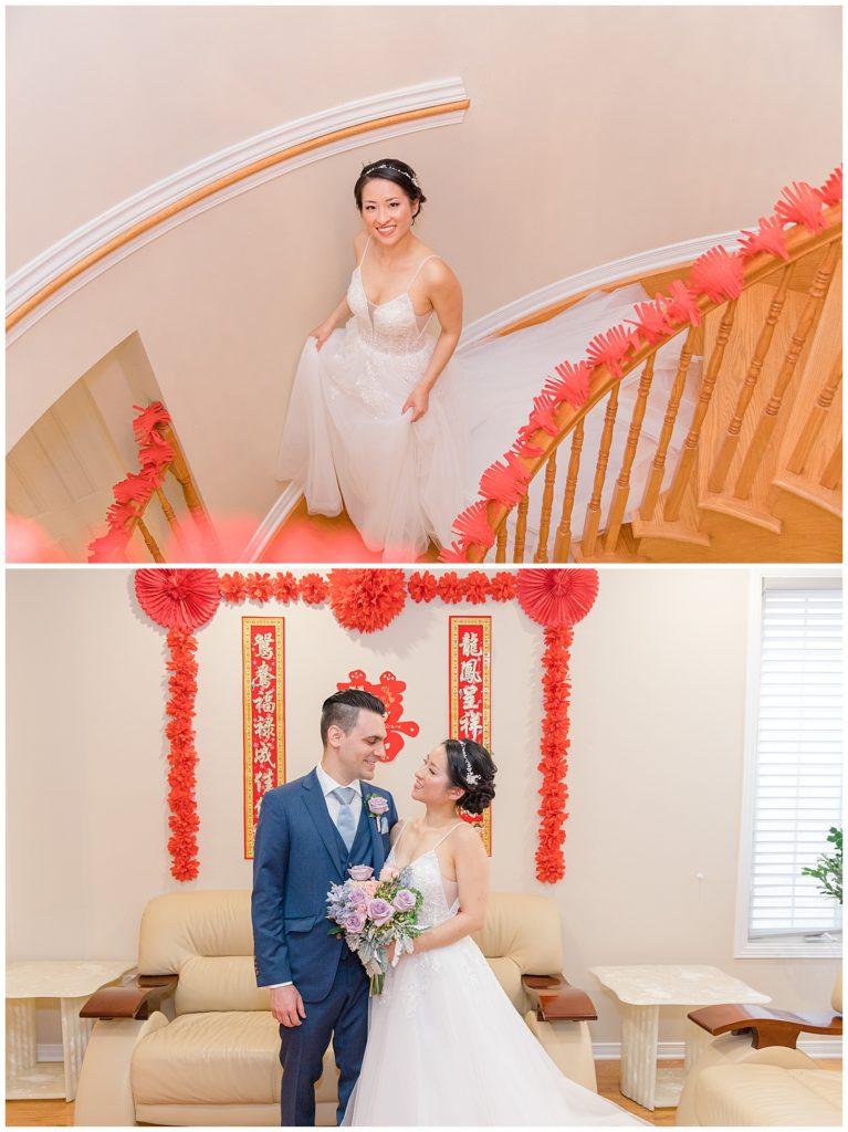 Bride walking down Stairs - Lisa & Pat - Grey Loft Studio - Wedding Photo & Video Team - Light and Airy - Ottawa Wedding Photographer & Videographer