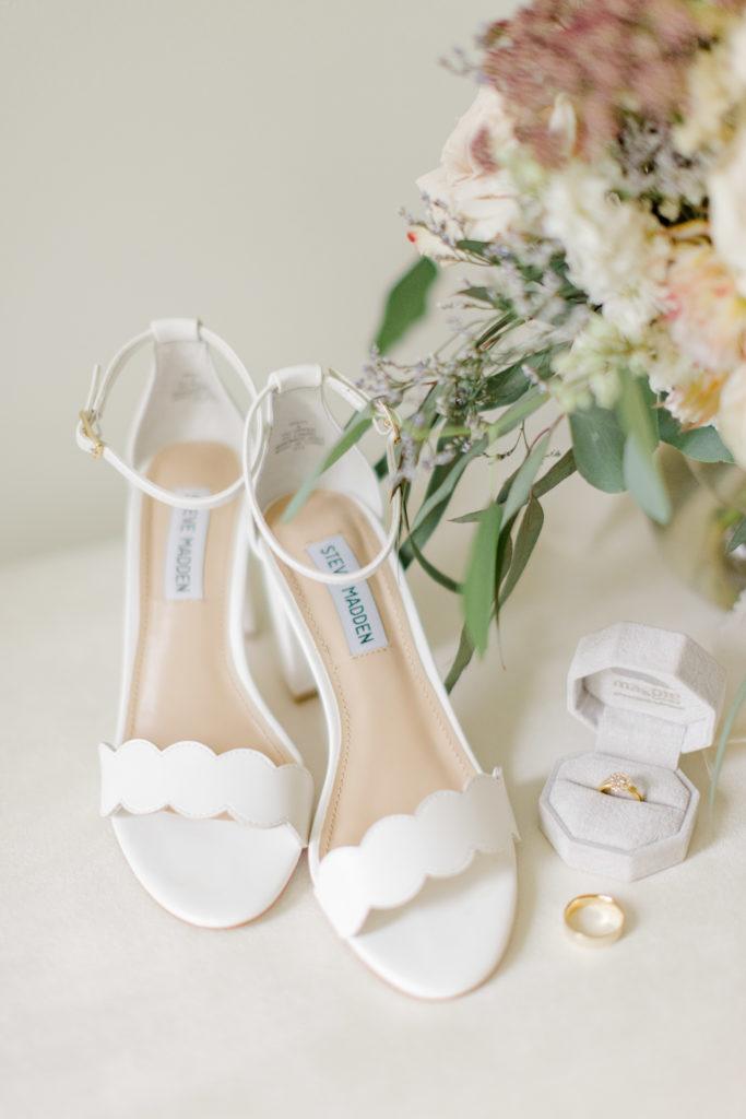 Beautiful Details, white steve madden shots, wedding ring, Wedding bouqet styling.