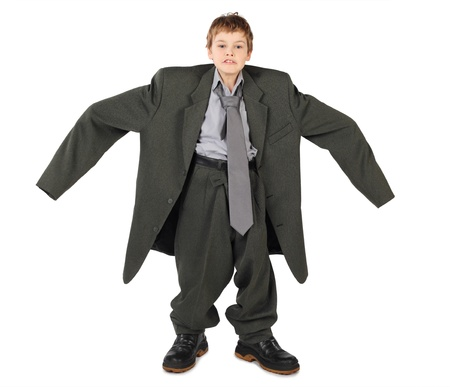 Boy in a big suit