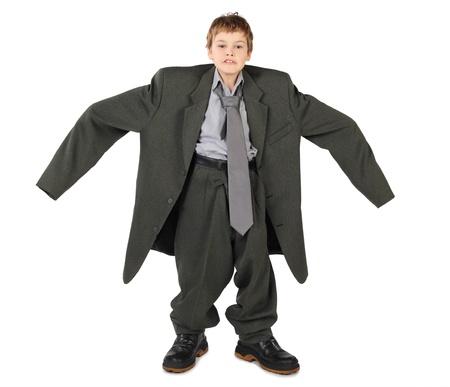Boy in a big suit