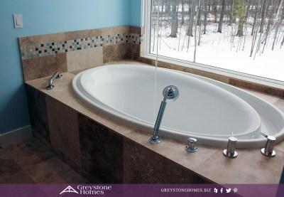 travertine tile bathtub soaking tub faucet from ceiling