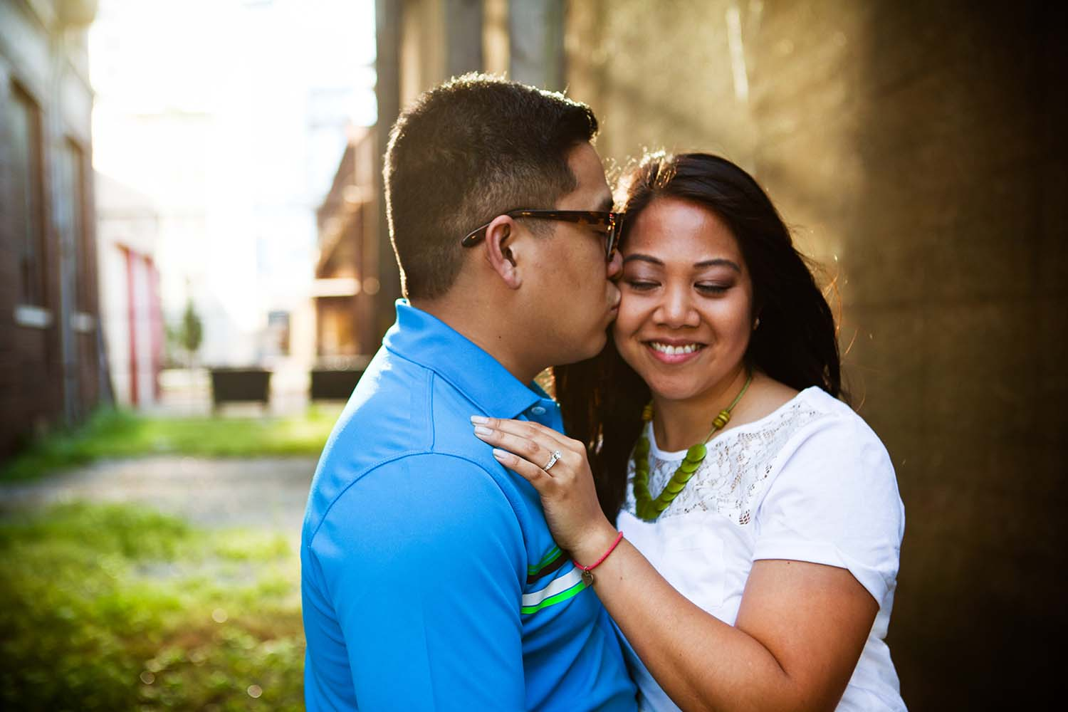 Engaged couple portrait urban Twin Cities Minnesota Photographer