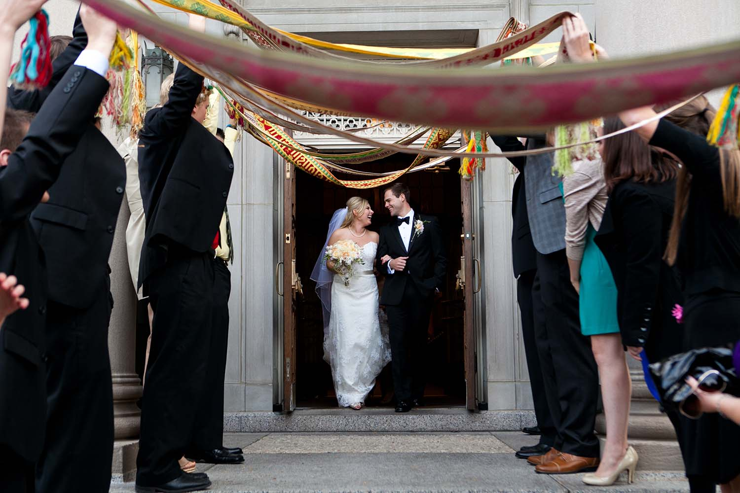 Lithuanian Wedding Sash Church Exit Chicago Wedding Photographer