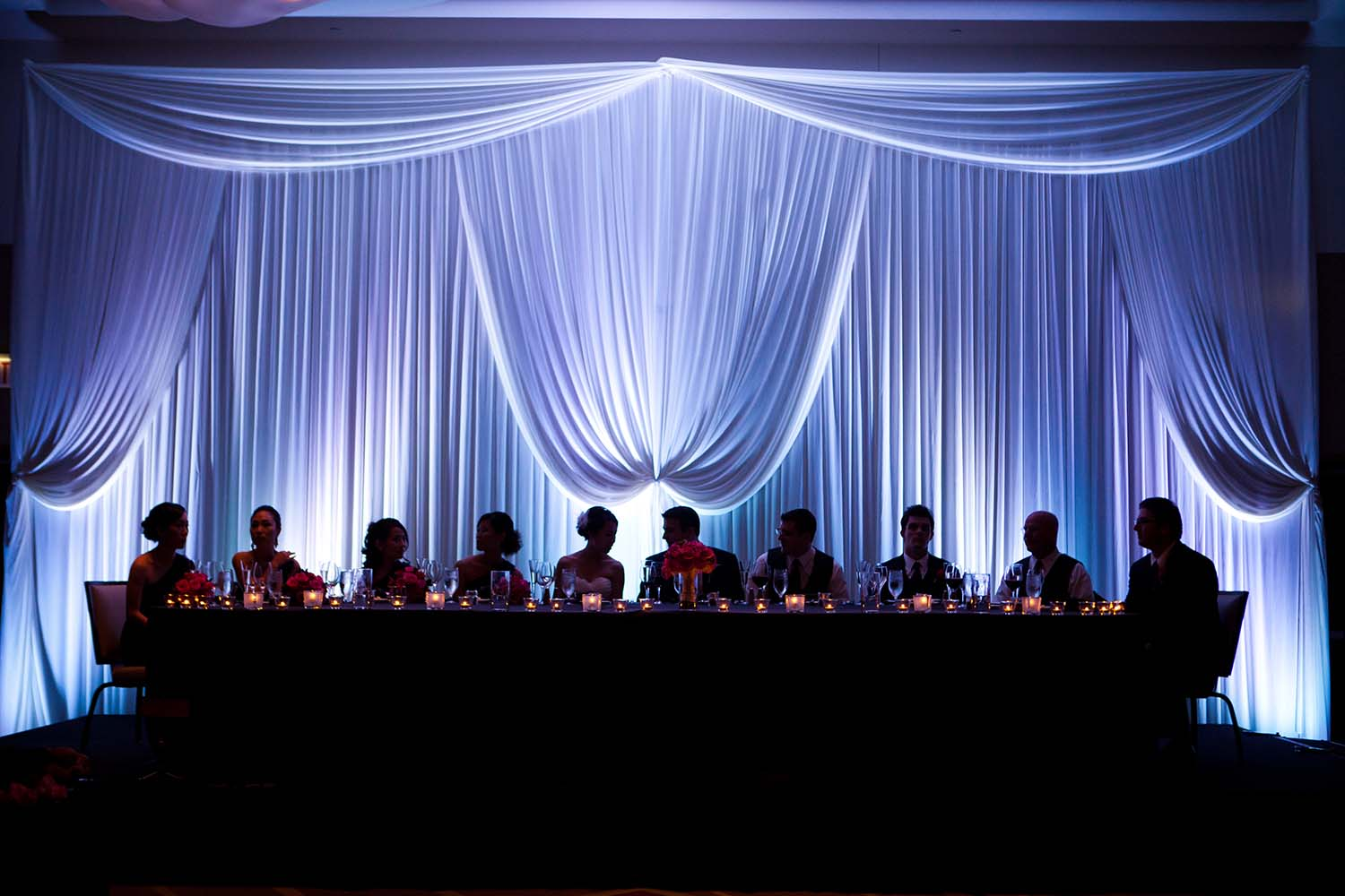 Silhouette Bridal Party Table Reception