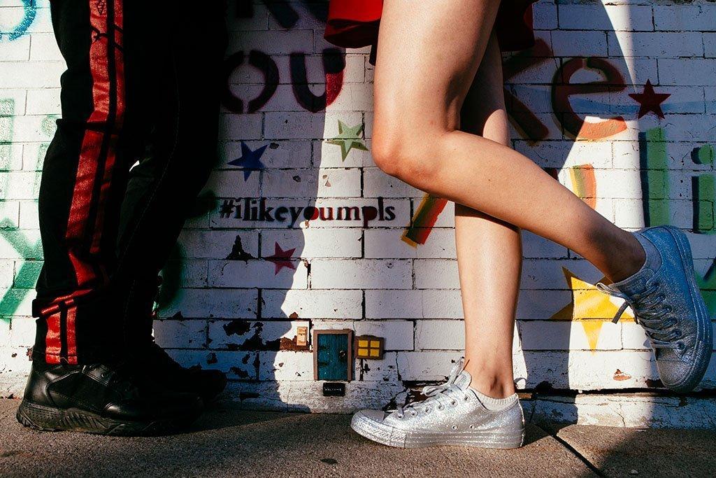 I Like You Graffiti Wall Twin Cities Engagement Photographers, mini door, MPLS, Minneapolis Wedding Photographers, Saint Paul, Minnesota Engagement Photography, Fun, cute, silver shoes
