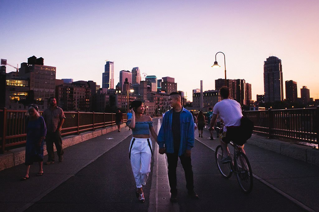 Stone Arch Bridge Downtown Minneapolis Engagement Photographers, photojournalism, docuentary, candid, street, photography, Twin Cities, downtown, skyline, dusk, twilight