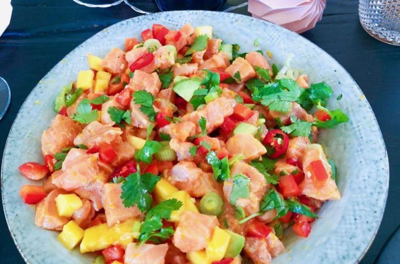 Laxa ceviche með mangó, avacado og kóríander