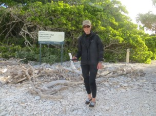 Sarah surveying on Lady Musgrave Island, a mixed sand and shingle cay. Photo: Stephanie Duce