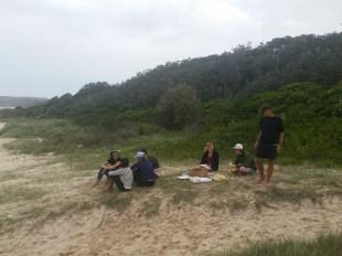 Students taking a break, Tristan doing something - Ana Vila-Concejo