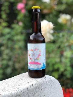 Tercio de cerveza artesana con etiqueta personalizada para regalo en bodas, comuniones, fiestas