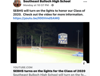 Southeast Bulloch High School Turns on the Lights for the Class of 2020