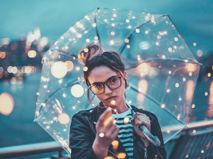 clear umbrella with fairy lights