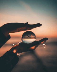 glass ball photography with fairy lights
