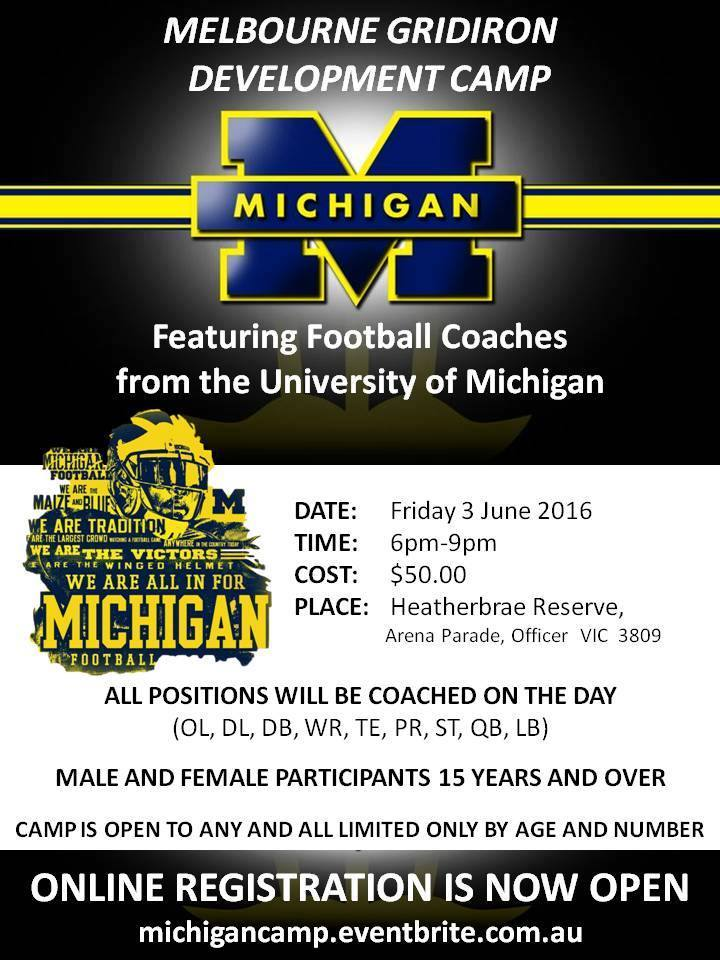 Michigan Football Camp Melbourne