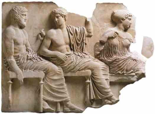 Poseidon, Apollo and Artemis Parthenon Frieze (East Side), c. 442-38 BC, Acropolis Museum..jpg