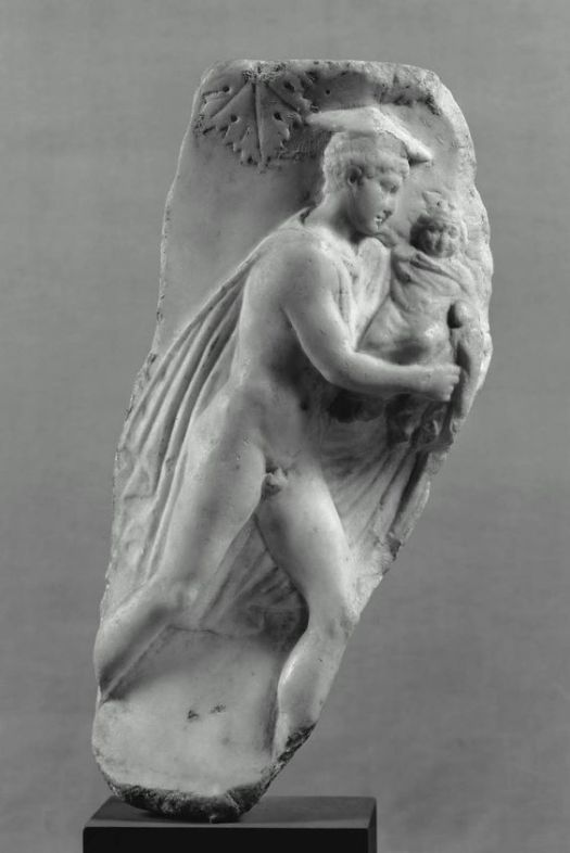 Hermes carrying the infant Dionysos to the Nymphs of Mount Nysa, fragment of marble vase, Roman Imperial Hadrianic Period..jpg